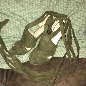 Olive green mule lace up heels suede sexy size 8